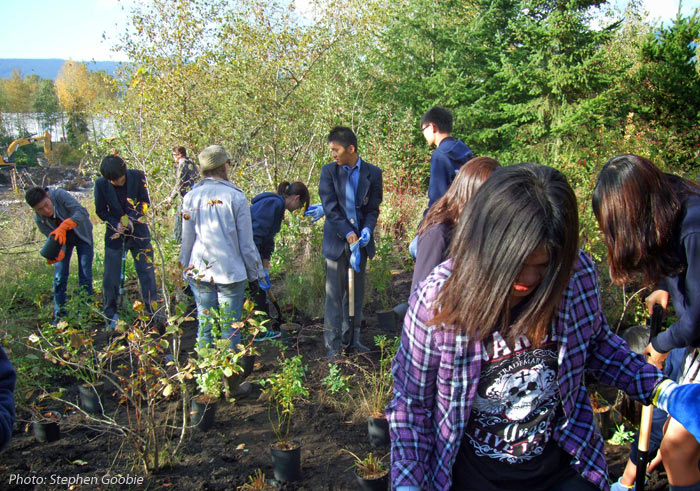 Bodwell High School Students Planting