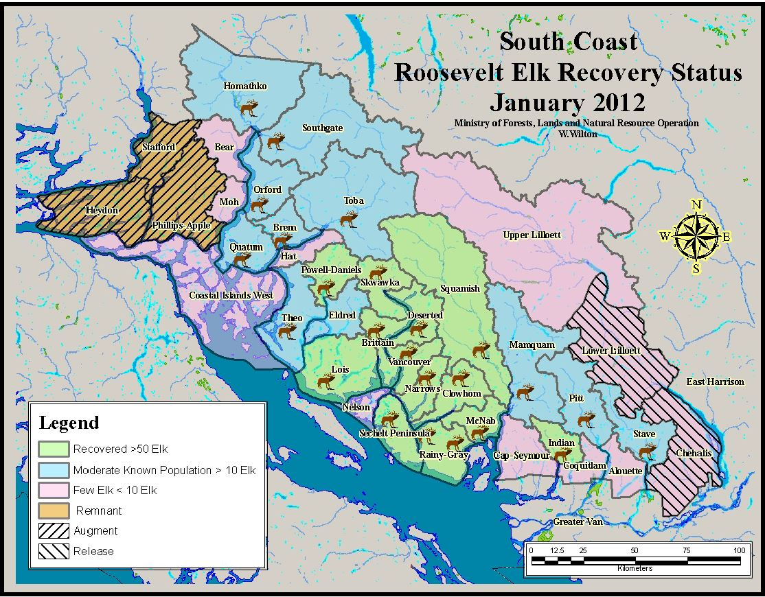 Map showing South Coast Roosevelt Elk Recovery Status