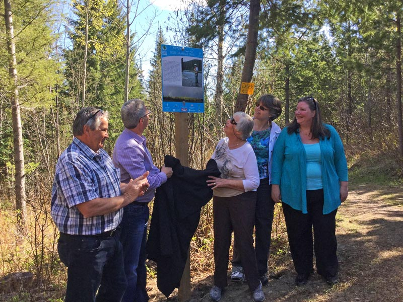 Unveiling of the trail dedication sign.