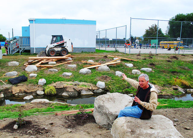 Darryl Arsenault shows off the newly-restored Fascieux Creek site at KLO Middle School in Kelowna. The site will act as an outdoor classroom for students.