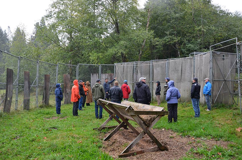 HCTF Board and staff visit the elk trap that will be used to capture one of the Sayward herds.